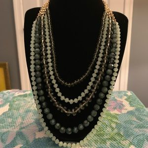 Gorgeous 5 Strand Green Beaded Statement Necklace